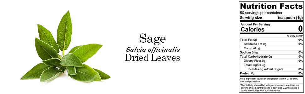 Organic Sage (Salvia officinalis) Dried Leaves 50g 1.76oz