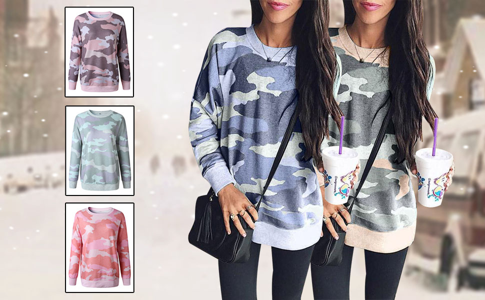 Women's keep warm loose casual long sleeve fashion hot clothes go shopping pink blue Armygreen