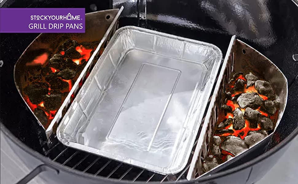 Aluminum Drip Pan (25 Count) - Drip Pan Liners - Aluminum Drip Pans Compatible with Weber Grills