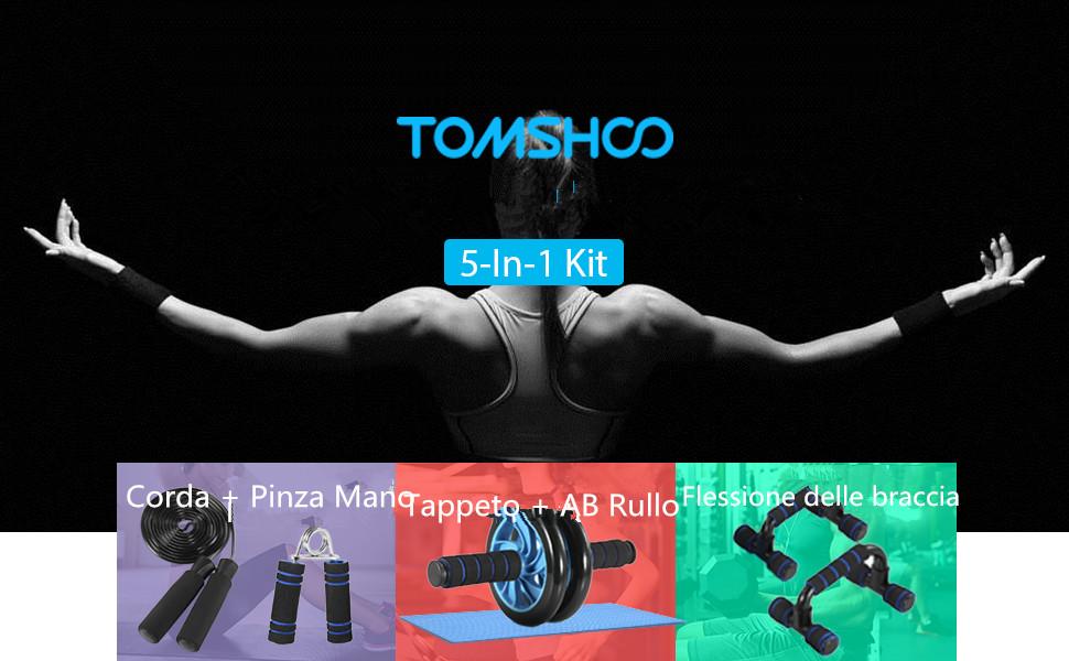 TOMSHOO 5-in-1 Fitness Workout Set - AB Wheel Roller Addominali +2 Maniglie per Flessioni + Corda per Saltare + Pinza… 2c2b5914 b3ce 4566 b6b8 97f63b0a6200. CR0,0,970,600 PT0 SX970 V1