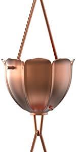 tulip rain chain copper