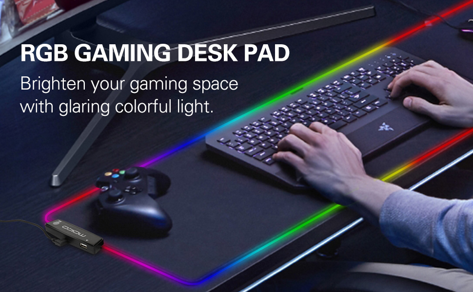 RGB Gaming Mouse Mat Large PC Desk Black Laptop Extended Keyboard and Mouse Pad for Macbook 800x300x4mm LED Light Up Mouse pad with Non-Slip Rubber Base