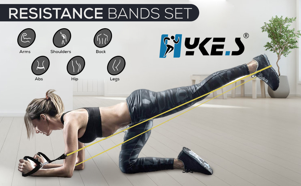 Resistance Bands Set Toning Tubes Stretches Exercise Strength Training Men Women Workouts Fitness