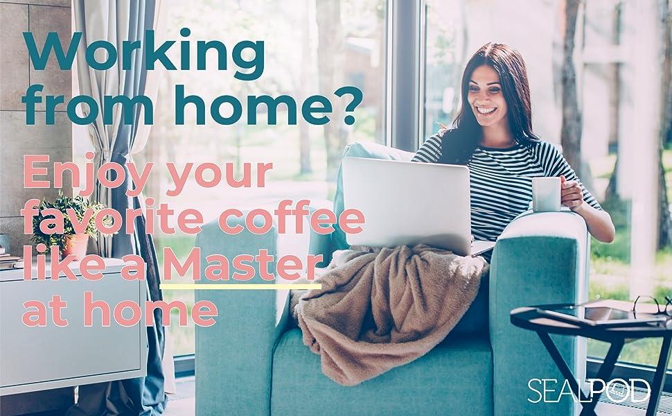 man enjoying coffee at home with sealpod