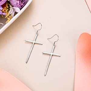 long cross dangle Earrings for her