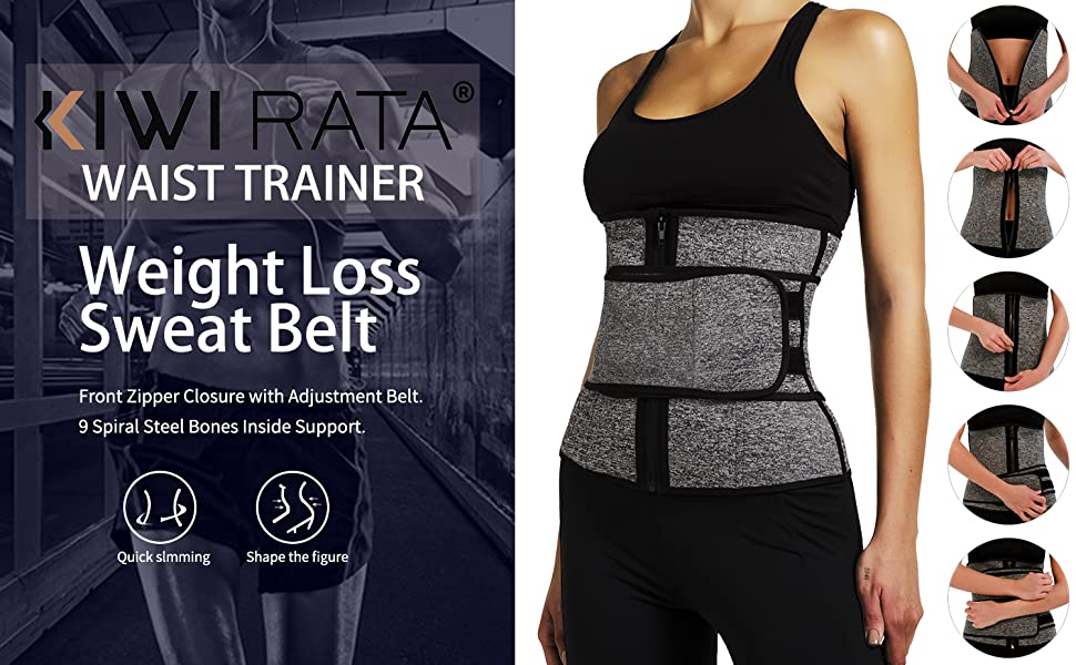 NEW sweat belt Waist Trainer Velcro Fitness Belt with Zip Neoprene Workout S-XL