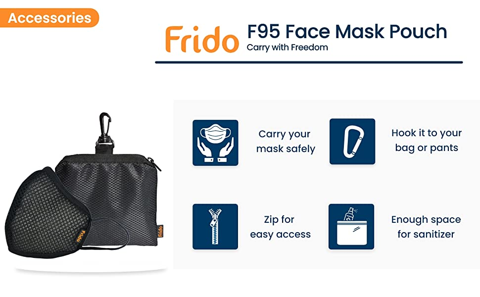 washable and reusable 5 layer protection outdoor and indoor face mask with carry puuch