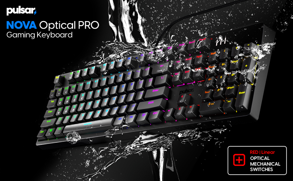 Pulsar NOVA Optical PRO Mechanical Gaming Keyboard   Optical Red Switch   IP68 Dust & Waterproof
