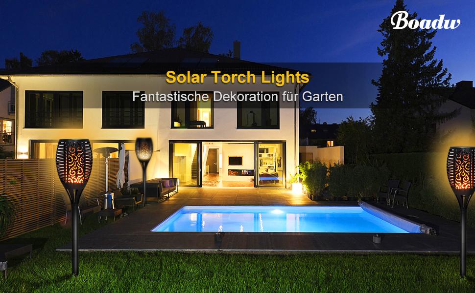 4er Pack Solarleuchten Outdoor Wasserdicht mit blinkender Fackel 43 Zoll 96 LED Wegeleuchte f/ür Garten Landschaft mit lebhaften flackernden Flammen tanzen