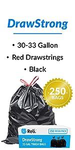 Reli. DrawStrong 30 Gallon Trash Bags Drawstring (250 Count, Bulk)