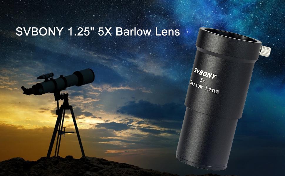 H HILABEE Lente Barlow Full Metal De 1,25 Pulgadas 5X con Revestimiento M/últiple para Oculares De Telescopio