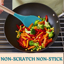 kitchen utensils are made of silicone heads designed to protect the surface of on-stick cookware