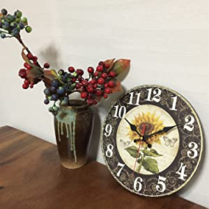Vintage Sunflower Wooden Decorative Clock Farmhouse Country Indoor Home Decor