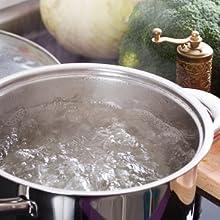 Lange handgreep vergiet voorkomen van kook water