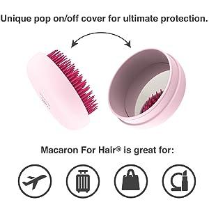 folded brush, hairbrush with cover, mirror, travel brush, on the go brush