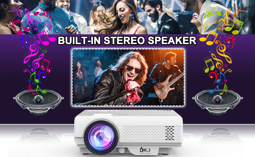 DR.J Profession Video Projector with Hi-FI Sound Quality