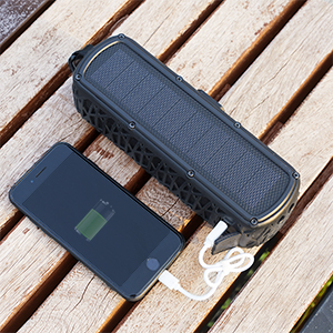 Silica  ABFOCE Solar Bluetooth Speaker Portable Outdoor Bluetooth IPX6 Waterproof Speaker with 5000mAh Power Bank,60 Hours Play Time Dual Speaker with Mic, Stereo Sound with Bass Home Wireless Speaker-Black 2c58f3ed 6f38 4355 964b 4106a264acc7