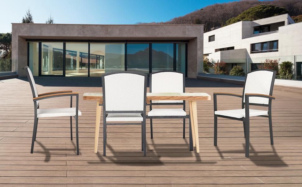 aluminum frame patio dining chair