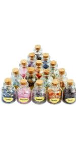 9 Mini Gemstone Bottles Chip Crystal Stones Set