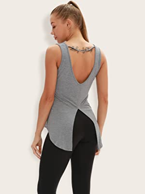yoga tops workout running exercise gym tank top open back tie