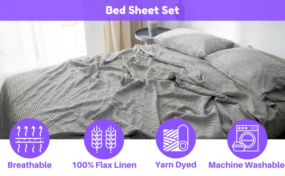 flax linen bed sheet set