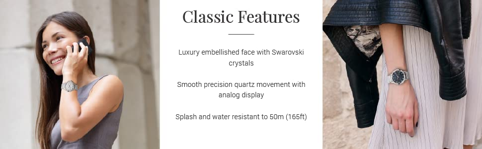 Crystals Swarovski Ladies watch fashion mesh strap round dial women