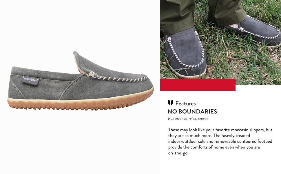 lightweight lipper men minnetonka moc moccasin open on outdoor room rubber shoe size slip sliper