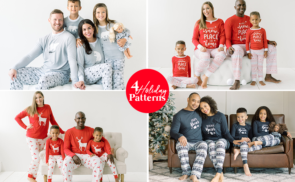 Image of Christmas family matching pajamas for men, women, kids, toddlers, babies, dolls, and pets.