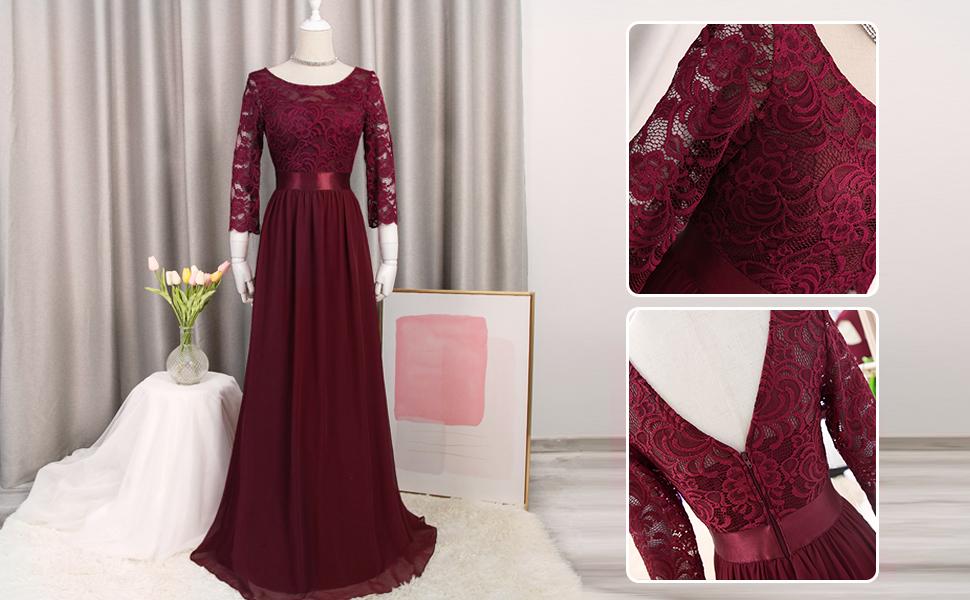 plus size long sleeve evening dress chiffon party dress lace dress burgundy formal dress plus size