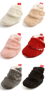 Baby Boys Girls Fleece Boot with Soft Non Slip Cloth Bottom Infant First Walker Sock Crib Shoes
