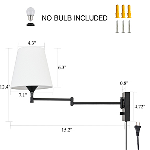 Wall Lights with Plug in Cord and Switch Adjustable Swing Arm Wall Lamps