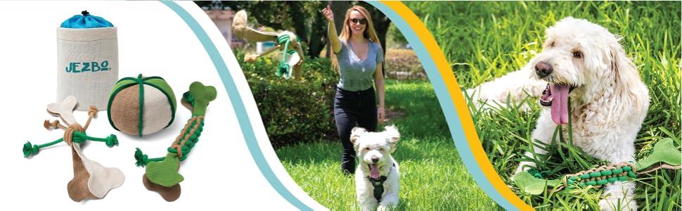 All-Natural Dog Chew Toys, 100% Hemp, Set of 3 Safe, Durable Puppy Teething Ropes Balls large medium