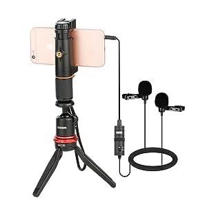 BOYA, Boya microphone, boya Dual Lavalier Universal Microphone,Clip-on lapel microphone