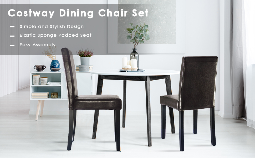 Surprising Costway Set Of 2 Parson Chairs Elegant Design Leather Modern Dining Chairs Dining Room Kitchen Furniture Urban Style Solid Wood Leatherette Padded Machost Co Dining Chair Design Ideas Machostcouk