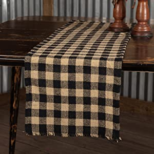 Burlap Black Check primitive country rustic Americana VHC Brands kitchen tabletop runner placemat