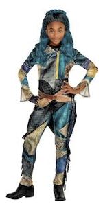 uma costume, movie villain, jacket, shirt, leggings, bright turquoise, vibrant patterns