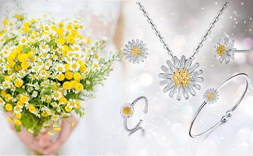 sterling silver jewelry set daisy flower open cuff bangle bracelet stud earrings necklace ring girls