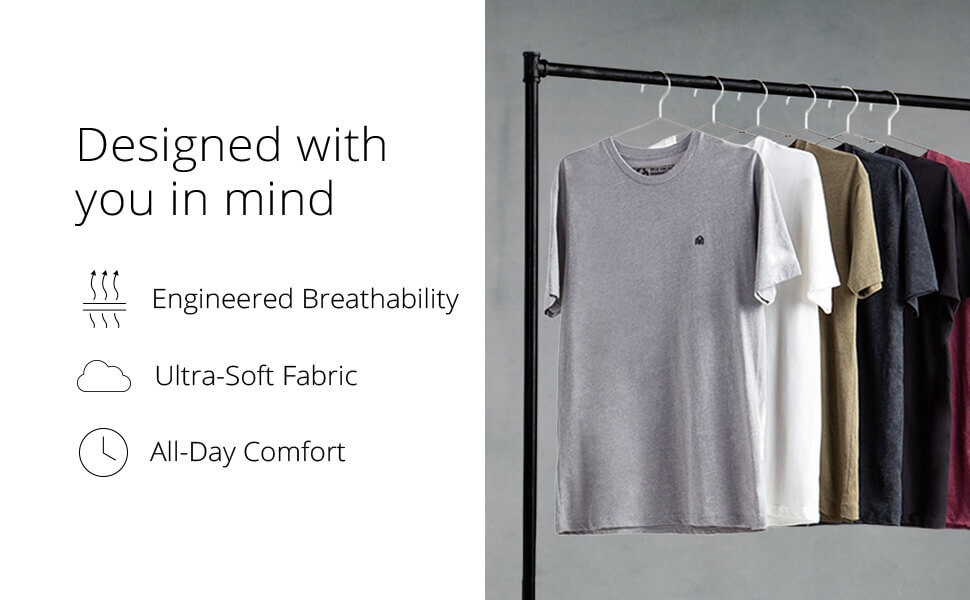 INTO THE AM men's basic tees designed with you in mind engineered breathability ultra soft fabric