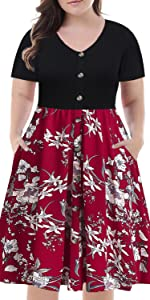 short sleeve floral patchwork casual a-line swing dress