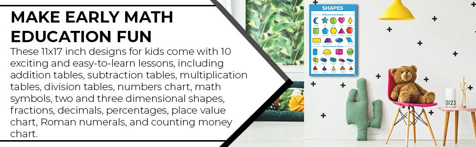 Math poster kid educational toddler teacher wall decor numbers multiplication table chart homeschool
