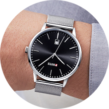 mens silver and black face dial watch wear model show