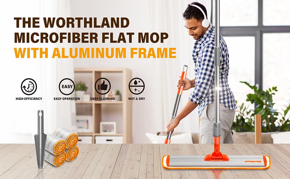 "Worthland 17"" Microfiber Flat Mop"