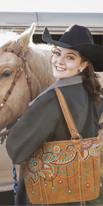 Montana West Concealed Carry Tote for Women Western Embroidered Floral Shoulder Bag with Wallet
