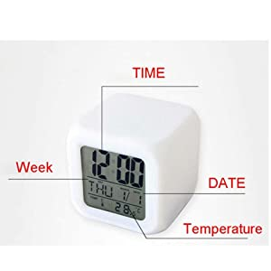 Colour Changing LED Digital Alarm Clock with Date, Time, Temperature