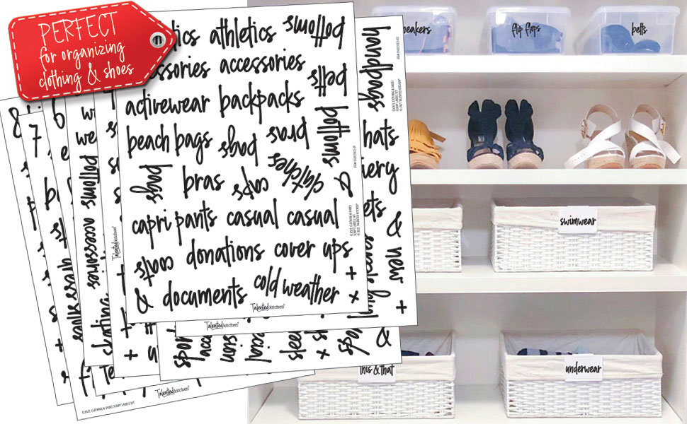 all caps closet clothing and shoes label set by talented kitchen