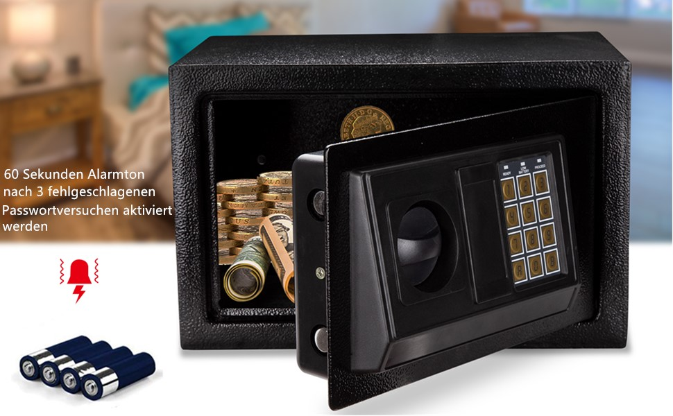 Hengda Tresor 31x20x20cm Elektronischer Safe Elektronik Zahlenschloss Doppelstahlbolzen Montagematerial Safe Möbeltresor Schwarz Baumarkt