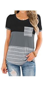 Casual Solid T ShirtsCrew Neck Tunics Tops