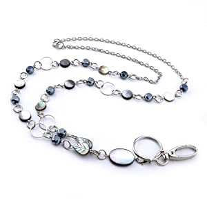 Perfect for Employee Id Badges and Keys Stainless Steel Chain LUXIANDA Fashion id Necklace for Women Badge Lanyard