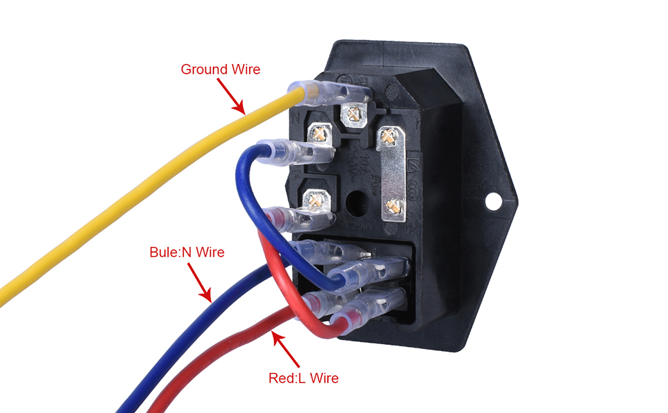 BIQU 15A 250V Rocker Switch Power Socket Inlet Module Plug 5A Fuse Switch  with 5Pcs 16-14 AWG Wiring 3 Pin IEC320 C14: Amazon.com: Industrial &  Scientific