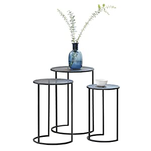 LIFA LIVING Nest 3 Tables Round Coffee Small Modern Side Living Room Black Metal End home furniture